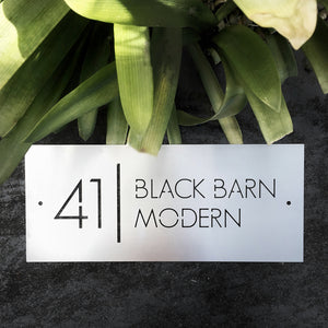Corten steel small address sign