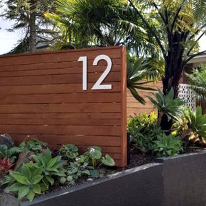 Individual matt white steel house numbers 50cm tall - you choose the font