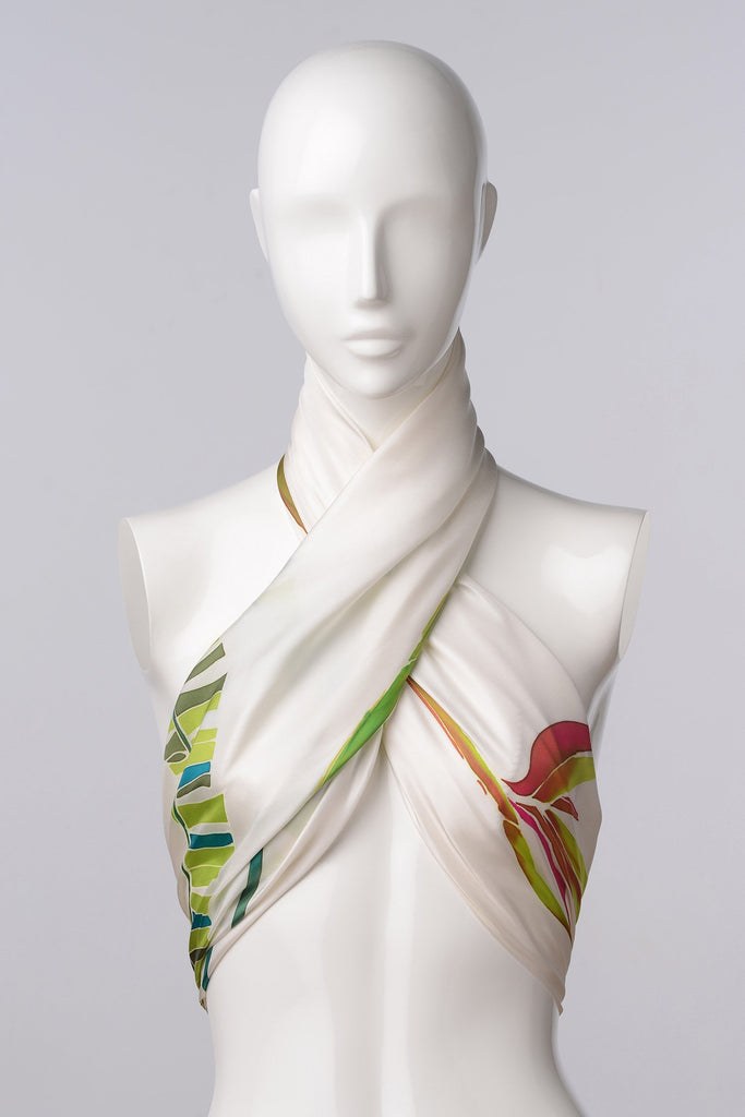 BIRD OF PARADISE Hand-painted scarf