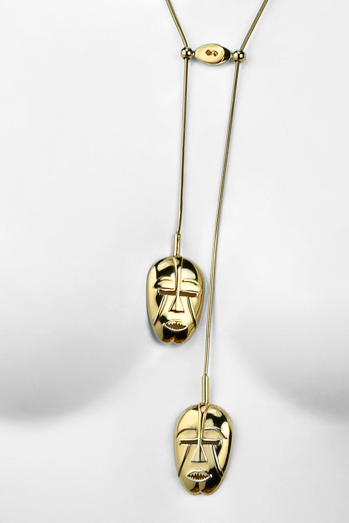 Woyo Mask Yellow gold necklace