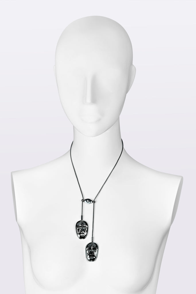 KATOUCH ATELIER | WOYO MASK BLACK RHODIUM | Necklace