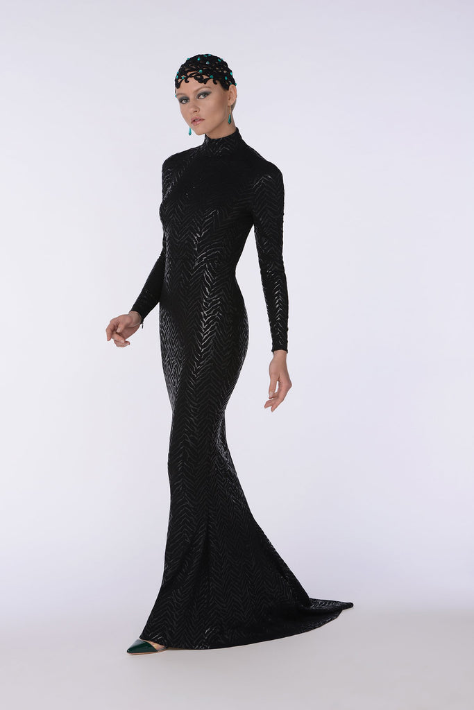 Black jet tight mermaid dress