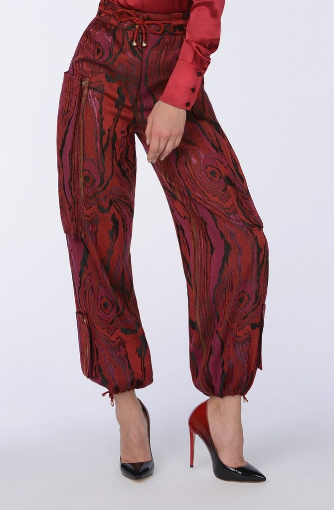 Bordeaux Swirl combat trousers