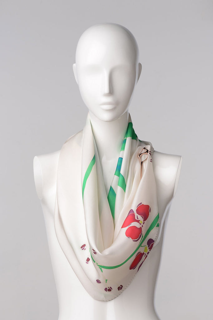 ORCHID PASSIONETA Hand-painted scarf