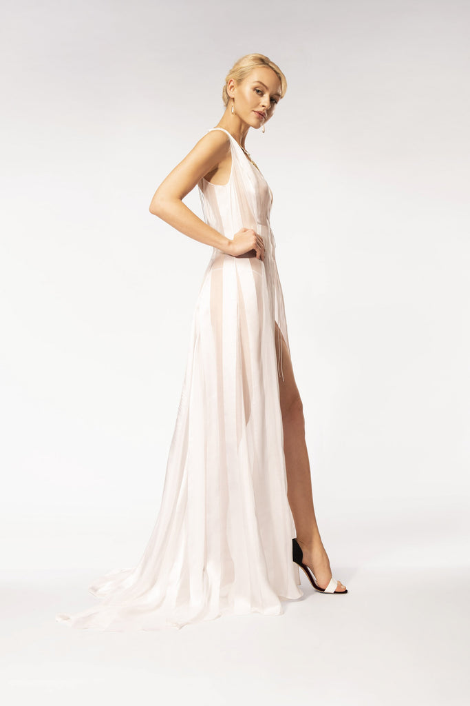 White organza stripe gown with strings