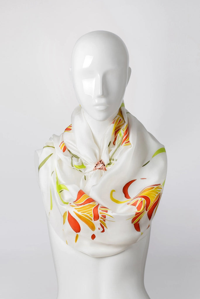 ASIATIC LILY Hand-painted shawl