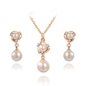 White Pearl Women Earring and Necklace Jewelry Sets