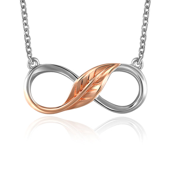 18K ROSE GOLD LEAF INFINITY 8 COLLECTION NECKLACE