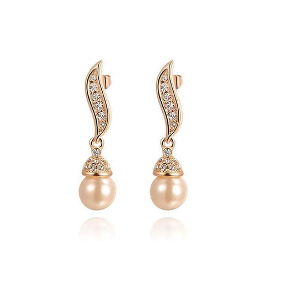 White Pearl Earrings Women Wedding Jewelry