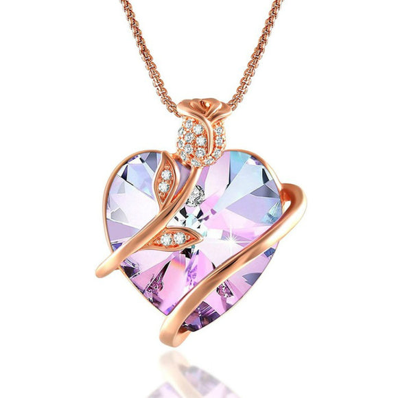 Rose Flower Heart Necklace for Women