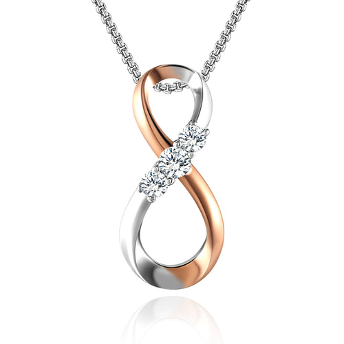 Angelady Infinity 8 Collection 925 Sterling Silver AAAAA Cubic Zirconia Pendant Necklace