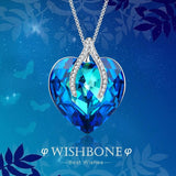 Wishbone Pendant Necklace Sapphire Women Jewelry Gifts