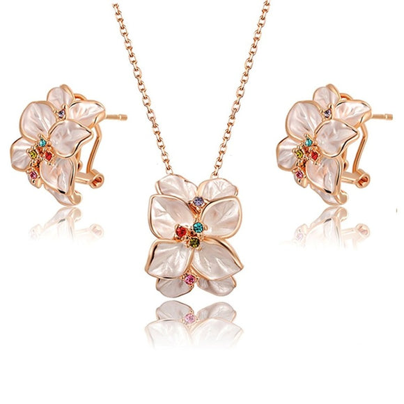 Ladies Crystal Earrings Necklace Set for Women