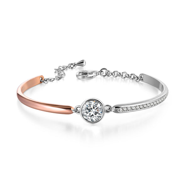 TWO-TONE ROSE AND WHITE GOLD BRACELET