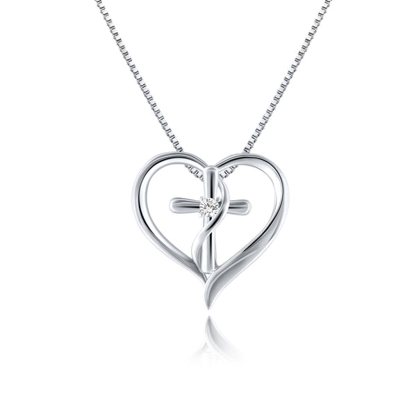 CROSS inMY HEART WHITE GOLD NECKLACE