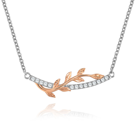 DESIGN JEWELRY LEAF VINE HIGH POLISH PLATING NECKLACE