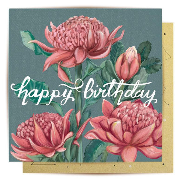 Birthday Waratah Greeting Card