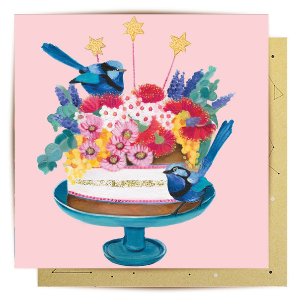 Birthday Bird Cake Greeting Card