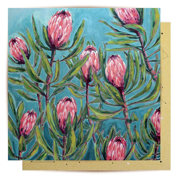 Painterly Protea Greeting Card