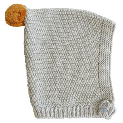 Pom Pom Pixie Hat - Grey & Butterscotch