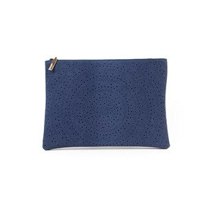 Faux Suede Diamond Circle Cutout Rectangle Clutch by Adorne
