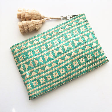 Many Tassels Borneo Zip Top Clutch by Adorne