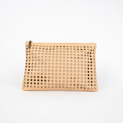 Octagonal Circle Cutout Zip Top Clutch by Adorne