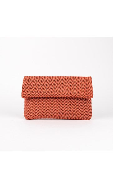 Braid Weave Flap Over Clutch by Adorne