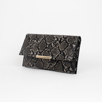 Snake Double Foldover Clutch by Adorne