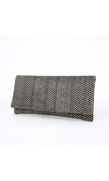 Diamond Pattern Weave Slim Fold Over Clutch by Adorne