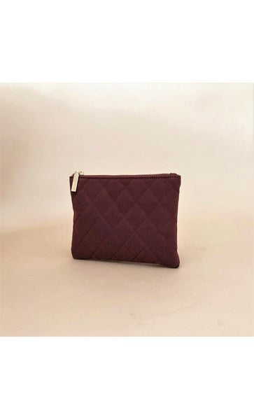 Vegan Suede Quilted Zip Top Pouch by Adorne