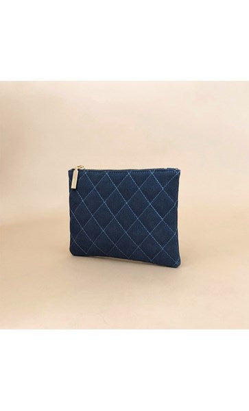 Vegan Suede Quilted Zip Top Pouch - Navy by Adorne