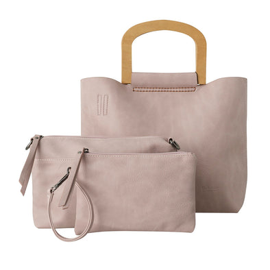 Carlota 3 Piece Tote Handbag with Wooden Handle - Pink by Black Caviar