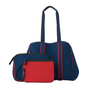 Ladies 3 Piece Neoprene Shoulder Bag Set - Navy & Red by Black Caviar