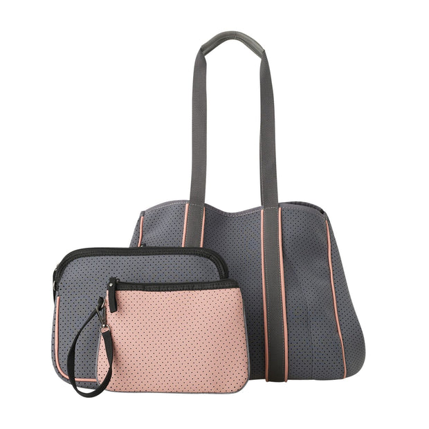 Ladies 3 Piece Neoprene Shoulder Bag Set - Grey & Pink by Black Caviar