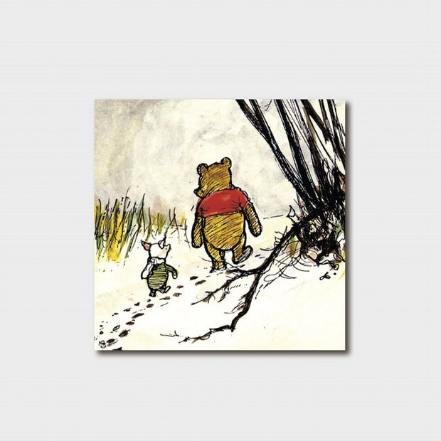 Small Winnie the Pooh - Footsteps in the Snow Card