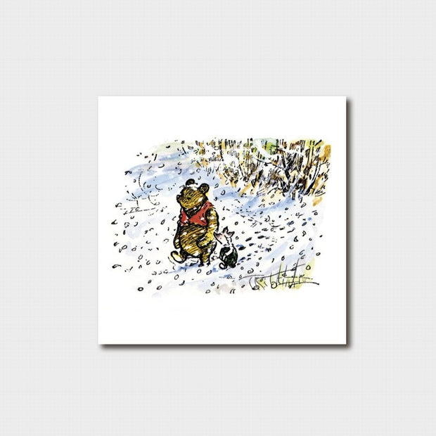 Small Winnie the Pooh - Pooh and Piglet in the Snow Card