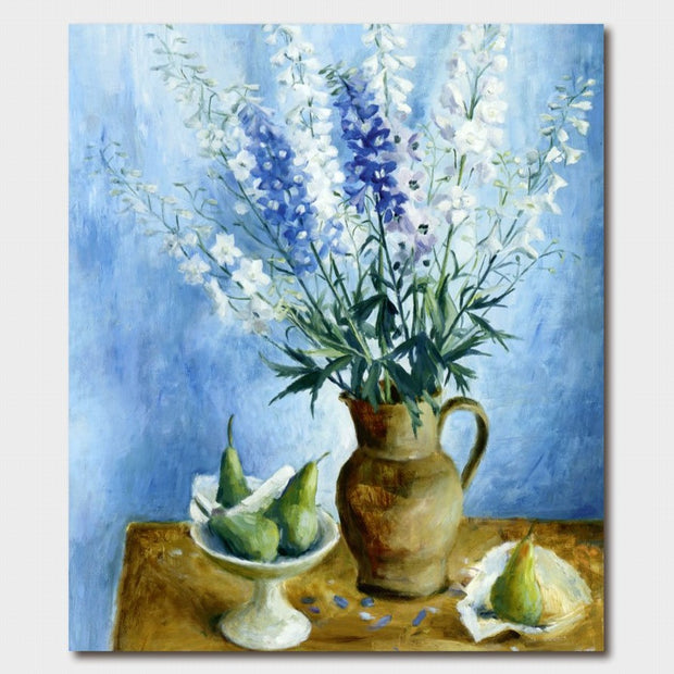 Margaret Olley Delphiniums and Pears Card