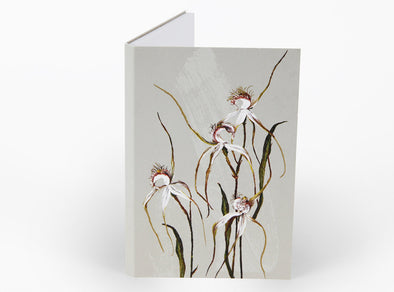Bell Art White Collection Notepad - Spider Orchid