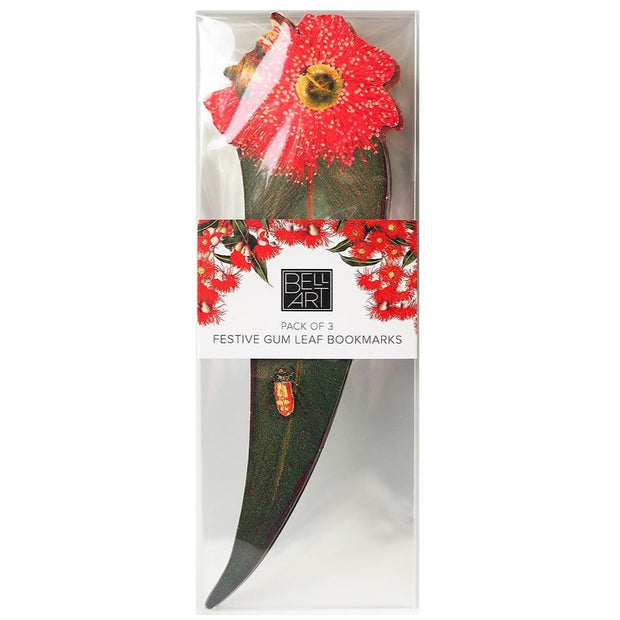 Gum Leaf Bookmarks - Red - Set of 3