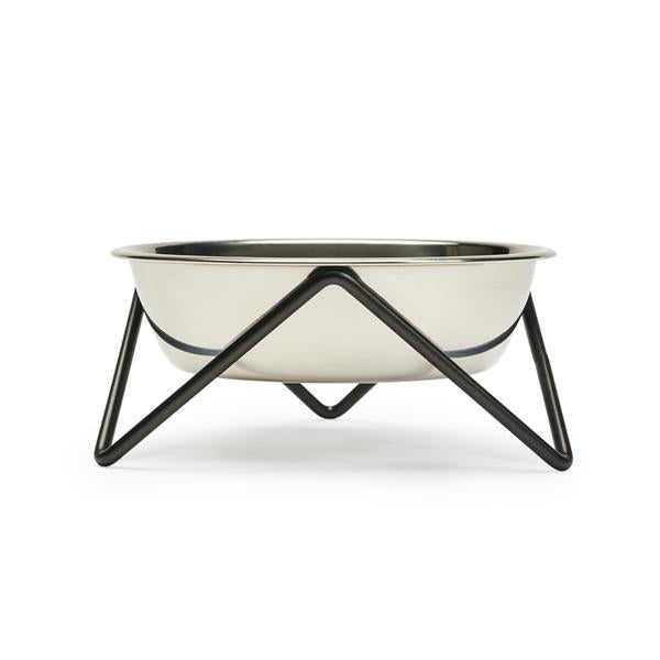 Meow Cat Bowl - Black with Stanless Steel Bowl by Bendo