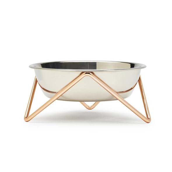 Meow Cat Bowl - Copper with Stainless Steel Bowl by Bendo