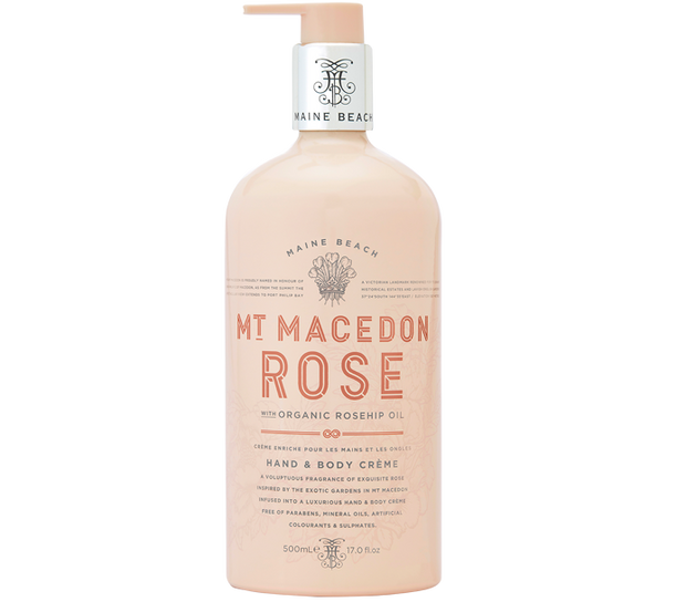 Mt Macedon Rose Hand & Body Creme 500ml by Maine Beach