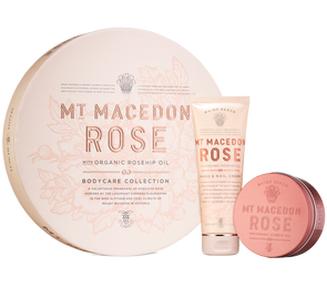 Mt Macedon Rose Flat Pack Duo (Hand & Nail Crème/Body Mousse) by Maine Beach