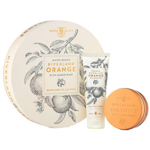 Maine Beach Riverland Orange (with Lemon Rind) Flat Pack Duo (Hand & Nail Crème/Body Mousse)