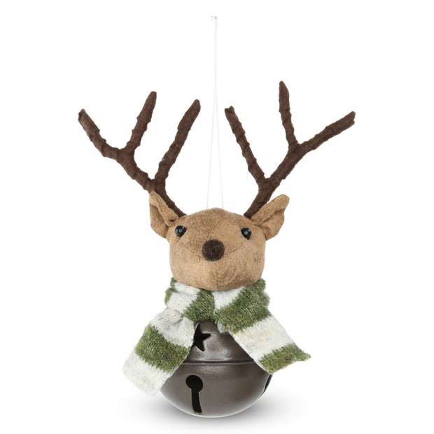 Fabric Woodland Hanging Reindeer Bell - Stripe Scarf