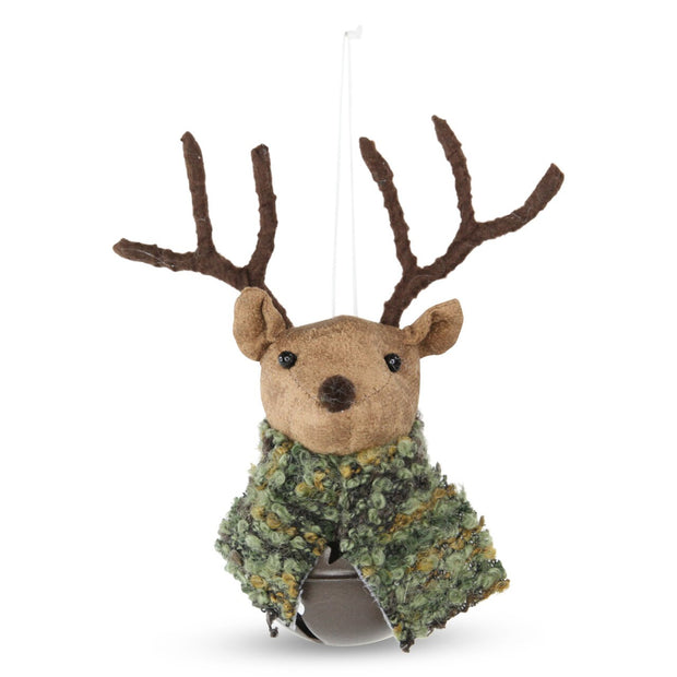 Fabric Woodland Hanging Reindeer Bell - Moss Scarf
