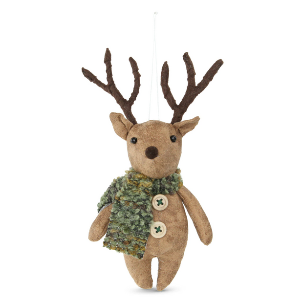 Fabric Woodland Hanging Reindeer - Moss Scarf