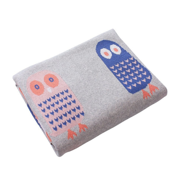 Hoot Owl Knit Cotton Blanket