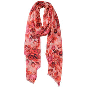 Bloom Wool Silk Digital Print Wrap - Coral